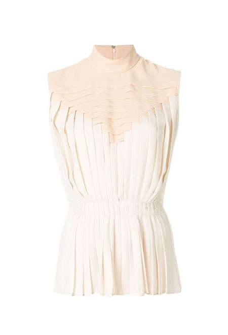 MARCO DE VINCENZO  Pleated sleeveless blouse