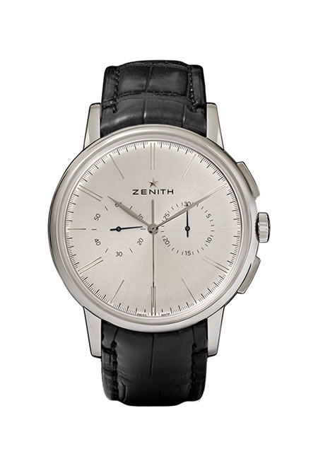 ZENITH chronograph classic stainless steel and alligator watch