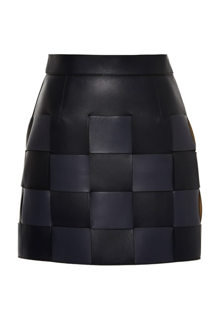 MARCO DE VINCENZO interwoven nappa mini black skirt