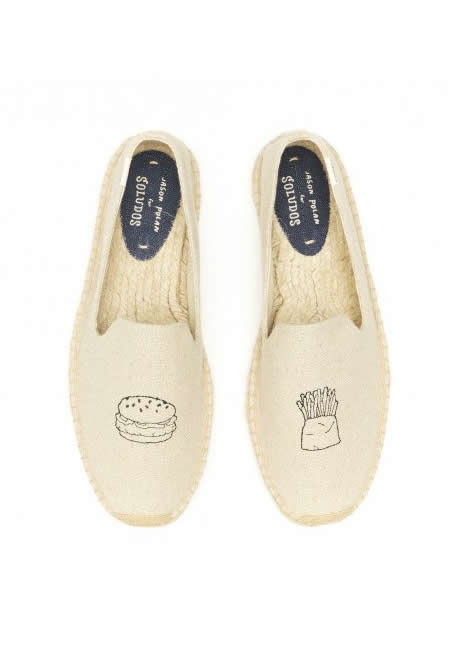 SOLUDOS natural embroidered smoking slippers