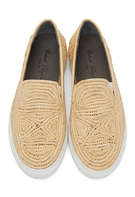ROBERT CLERGERIE natural raffia sneakers