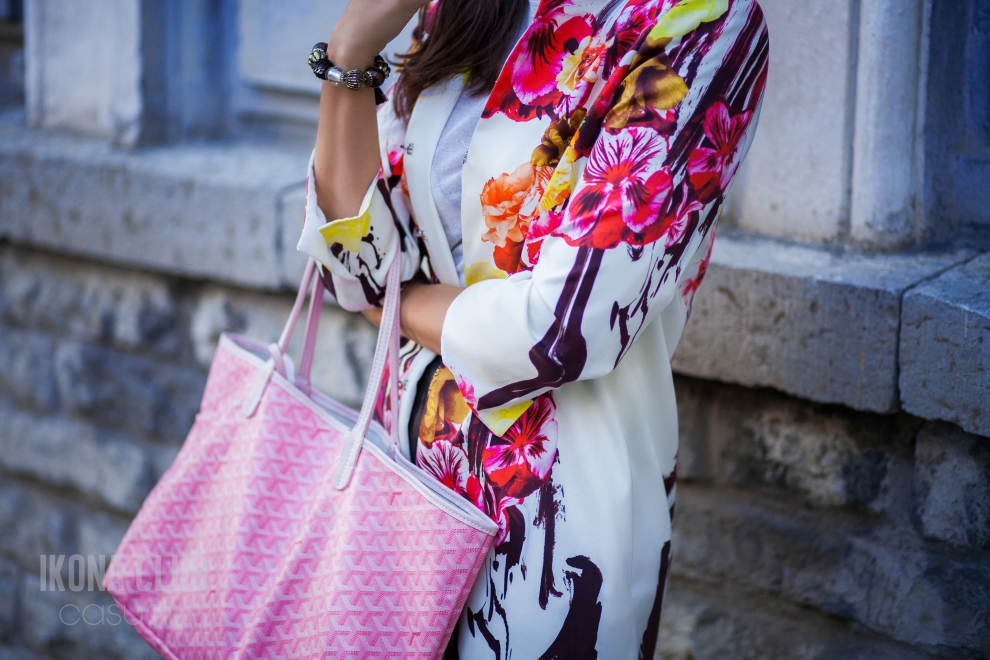Street fashion | MFW | Goyard rose tote