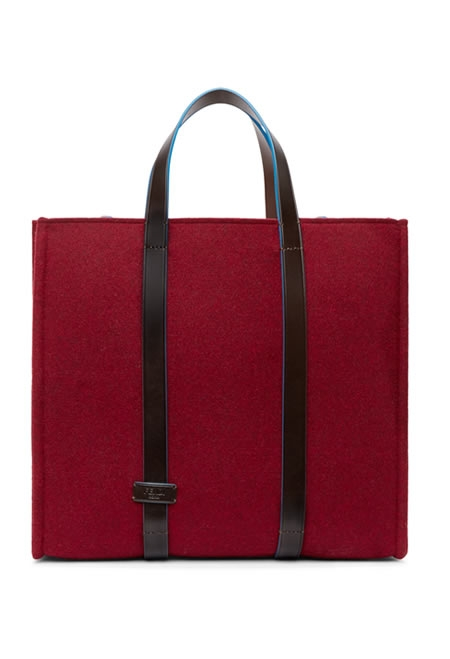 Fendi burgundy felt & leather tote