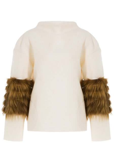 SAKS POTTS pullover with fox sleeve detail