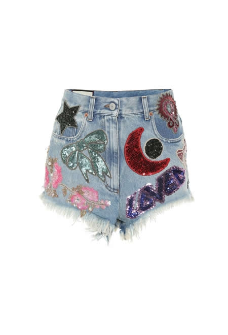 GUCCI  Sequined denim shorts