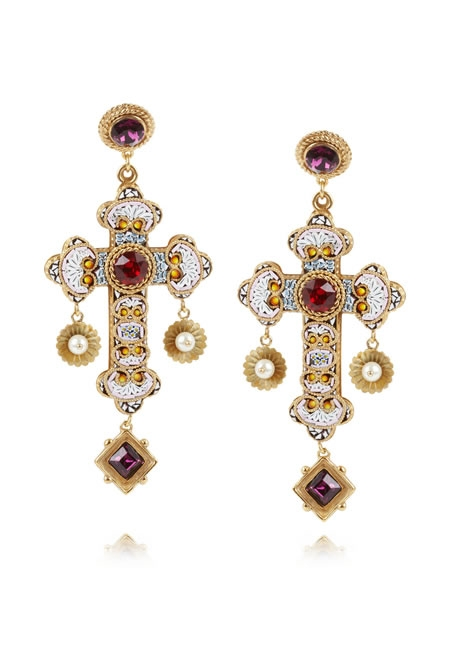 DOLCE & GABBANA gold-plated Swarovski crystal cross clip earrings