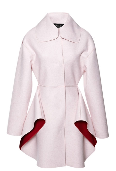 GIAMBATTISTA VALLI two tone felt coat with petal skirt