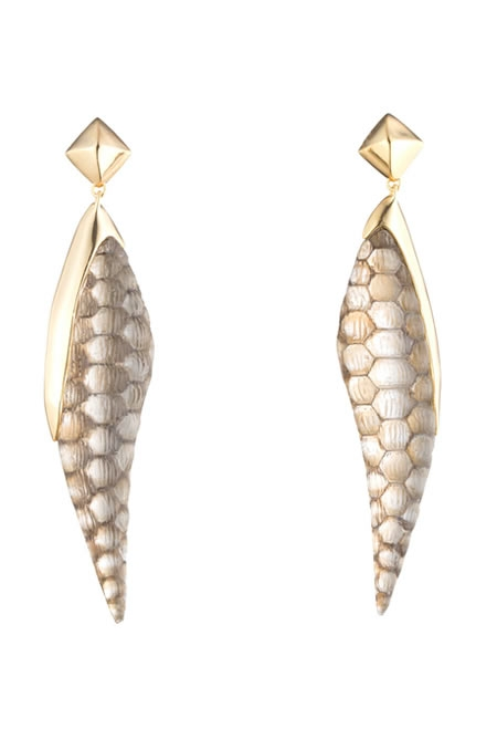 ALEXIS BITTAR croc textured pyramid drop post earring