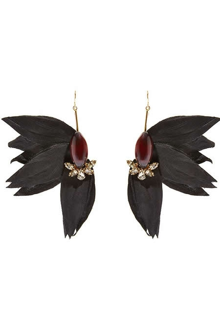 MARNI gold-plated, horn, crystal and grosgrain earrings