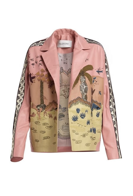 VALENTINO Jungle embroidered leather jacket