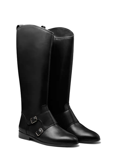 CB MADE IN ITALY double buckle monk stap knee boots