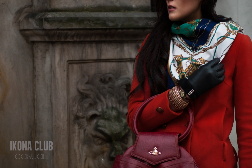 Street fashion photo | Red bag Vivienne Westwood