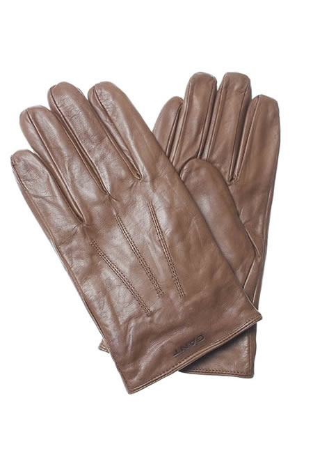 GANT fitted leather gloves tan