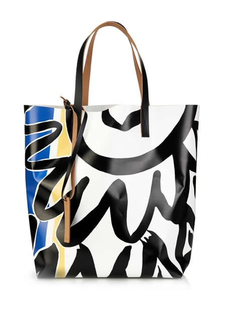 MARNI abstract-print PVC and leather tote