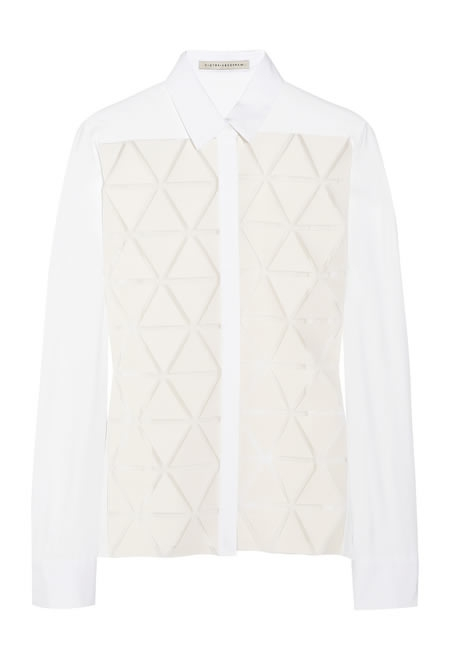 VICTORIA BECKHAM triangle-appliqued silk and wool-blend crepe shirt
