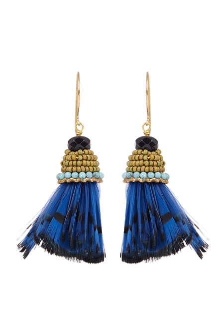 ETRO feather-embellished drop earrings