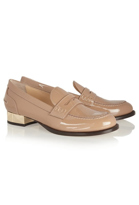 VALENTINO studded patent-leather loafers