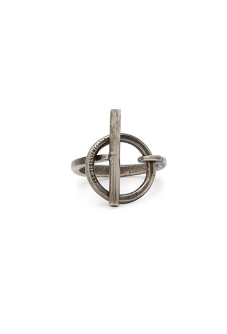 ANN DEMEULEMEESTER Circle lock sterling silver ring