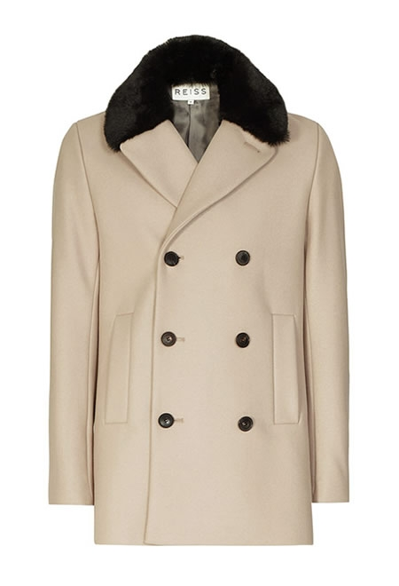 REISS faux fur collar coat