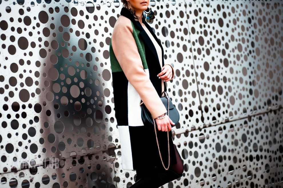 Street style | LFW | Womens green colour-block wool-blend coat
