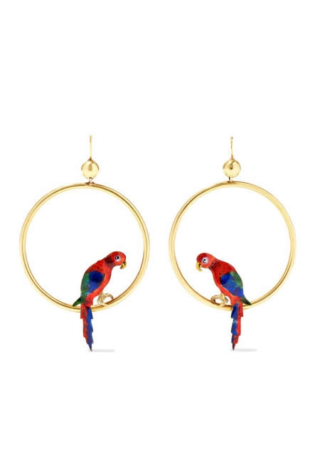 FRED LEIGHTON 15 karat gold and enamel earrings