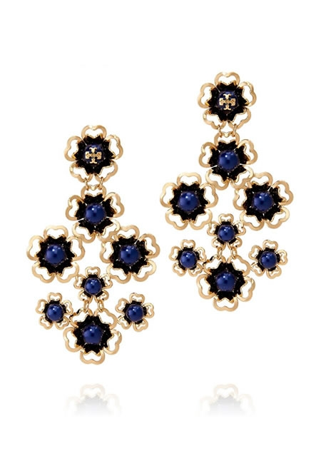TORY BURCH blue katie chandelier earrings