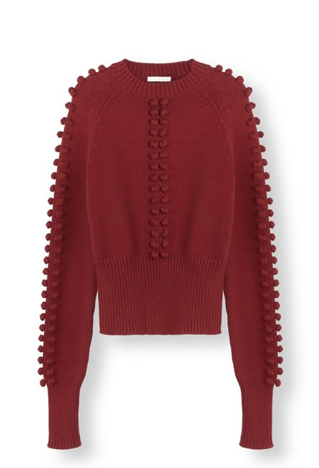 CHLOE bobble knit sweater in wool mix with ribbed trim