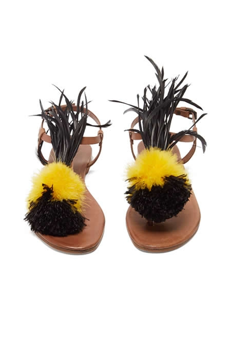 ALVARO arajan feather-trimmed leather sandals